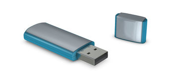 One usb key. One 3d usb key with blank space for general purpose stock illustration