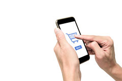 One using smartphone for e-commerse Royalty Free Stock Photo