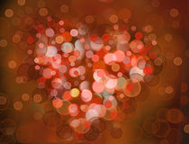 One Valentine's bokeh heart. Colorful shape. Can be used as valentine card, flyer, banner, invitation card for wedding Stock Images