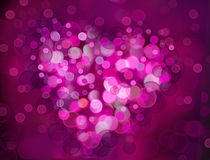 One Valentine`s bokeh heart. Colorful shape. Can be used as valentine card, flyer, banner, invitation card for wedding. Or other holiday events Stock Photo