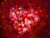 One Valentine's bokeh heart. Colorful shape. Can be used as valentine card, flyer, banner, invitation card for wedding. Or other holiday events Stock Photos