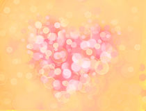 One Valentine's bokeh heart. Colorful shape. Can be used as valentine card, flyer, banner, invitation card for wedding. Or other holiday events Royalty Free Stock Photography