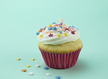 One vanilla cupcake with colour star sprinkles against soft gree Royalty Free Stock Photos