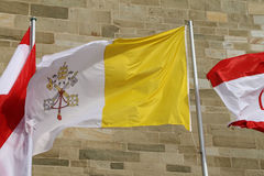 One Vatikan Flag. In Osnabrück infront of the cathedral Stock Photography