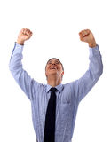 One very happy energetic businessman. With his arms raised royalty free stock photo