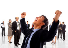 One very happy energetic businessman royalty free stock image