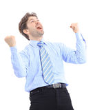 One very happy energetic businessman Royalty Free Stock Photos