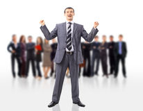 One very happy energetic businessman Stock Photography