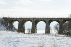 One of the viaducts of Circum-Baikal Railway in winter Stock Images