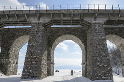 One of the viaducts of Circum-Baikal Railway in winter Stock Photos
