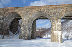 One of the viaducts of Circum-Baikal Railway in winter Royalty Free Stock Image