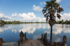 The Sras Srang pool. This is one view near by the Sras Srang pool. This pool is one of royal pool. The king of Khmer used to have ceremony and took a rest here Royalty Free Stock Images