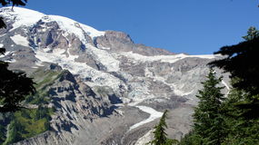 One view of the Nisqually glacier on Mount Rainier. Stock Photo