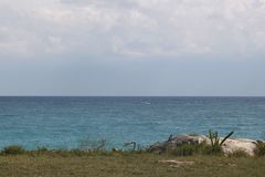 One view to the sea of Tulum, Mexico stock photography