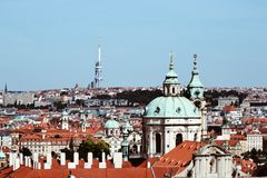 View of Prague City. One of the views of Prague from Prague City. You can see Nicholas Church and Žižkovská tower Royalty Free Stock Images