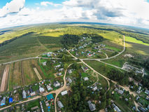 One of the villages Maksatihinsky area. View from the bird`s-eye view of the village, called `Fabrika Stock Images
