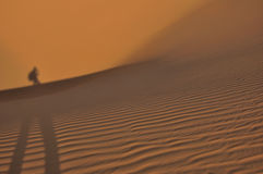 One wallking in desert. One walking in desert lonely Royalty Free Stock Photo
