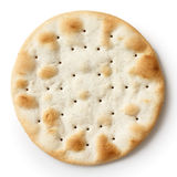 One water biscuit, isolated from above. Royalty Free Stock Photos