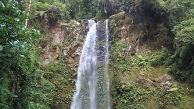 One of waterfalls in a cloud forest. Along the Lost Waterfalls hiking trail near Boquete, Panama stock footage