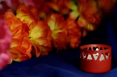 One of the wax candles stand royalty free stock photo