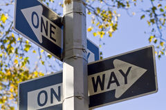 One way. Each way is a one way stock photo