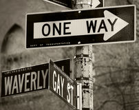 One Way. Street signs in New York Royalty Free Stock Images