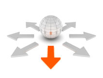 One way - 3d ball and arrows. On white background Royalty Free Stock Images