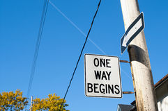 One way begins street sign royalty free stock images
