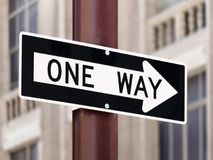 One Way Direction Sign Road. Pole Stock Photo