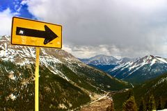 One way. Independence Pass, Rocky Mountains , Colorado. Royalty Free Stock Photography