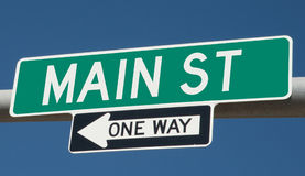 One-way Main Street road sign Royalty Free Stock Photo