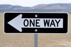 One way road sign. At desert royalty free stock photography