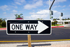One way road sign. San Diego California Royalty Free Stock Images