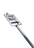 One way road sign isolated on white background. One way road sign isolated on white backdrop Royalty Free Stock Photography