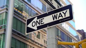 One way road sign. In New York city stock footage