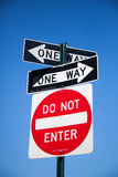 One way road sign. In the United States Stock Image