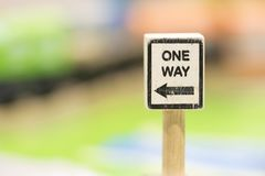 One way sigh - Toy Set Street Signs - Play set Educational toys. For preschool indoor playground selective focus Stock Images