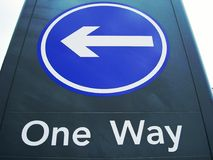 One Way Sign. One way traffic sign Stock Images