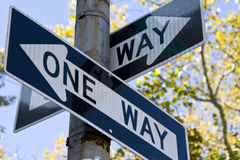 One way sign. Each way is a one way royalty free stock photo
