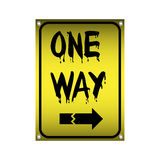 One way sign. Yellow metallic plate with one way sign royalty free illustration