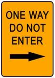 One Way Sign. Orange one way sign - illustration sign Stock Image