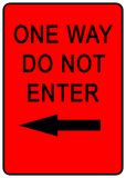 One Way Sign. Red One Way Sign - illustration sign Royalty Free Stock Photography