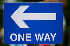One way sign. With direction arrow Stock Image