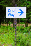 A one way sign with an direction arrow Royalty Free Stock Photos