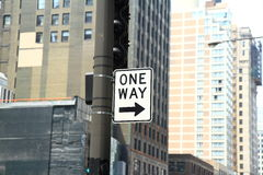 One Way Sign  In Downtown Chicago. USA Royalty Free Stock Photos