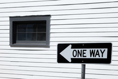 One way. Sign outside weatherboard house in New Orleans royalty free stock photo