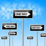 One Way Sign Represents Signage Decisions And Option Royalty Free Stock Images