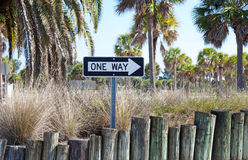 One Way sign. On a sunny day, at a beach parking lot Stock Photo