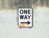 One way sign with tag Stock Photos