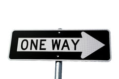 One Way Sign on White Royalty Free Stock Photos